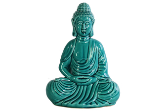 UTC12928 Ceramic Meditating Buddha Figurine with Rounded Ushnisha in Dhyana Mudra Gloss Finish Teal