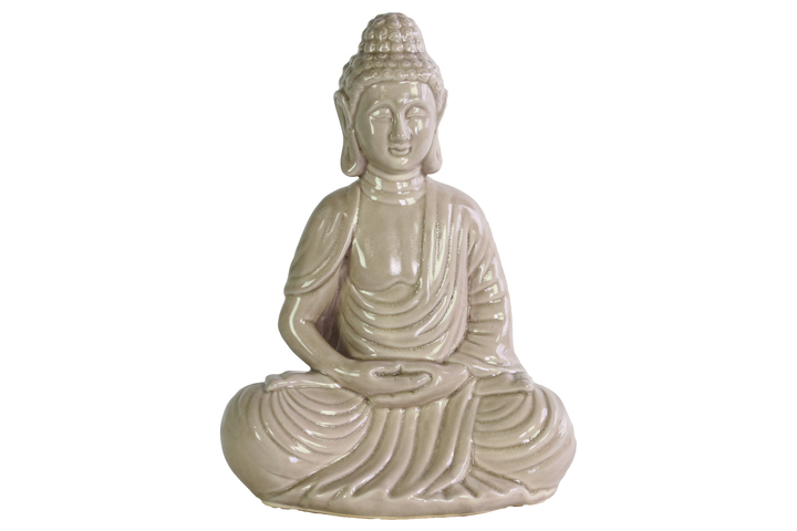 UTC12929 Ceramic Meditating Buddha Figurine with Rounded Ushnisha in Dhyana Mudra Gloss Finish Beige