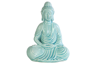 UTC12930 Ceramic Meditating Buddha Figurine with Rounded Ushnisha in Dhyana Mudra Gloss Finish Cyan