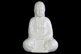 UTC12931 Ceramic Meditating Buddha Figurine without Ushnisha in Mida-No Jouin Mudra Gloss Finish White