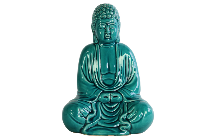 UTC12932 Ceramic Meditating Buddha Figurine without Ushnisha in Mida-No Jouin Mudra Gloss Finish Teal