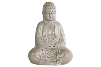 UTC12933 Ceramic Meditating Buddha Figurine without Ushnisha in Mida-No Jouin Mudra Gloss Finish Beige