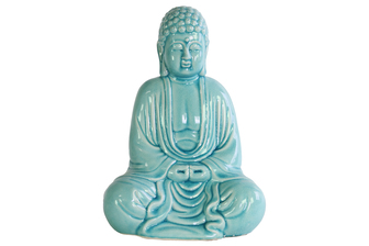 UTC12934 Ceramic Meditating Buddha Figurine without Ushnisha in Mida-No Jouin Mudra Gloss Finish Cyan