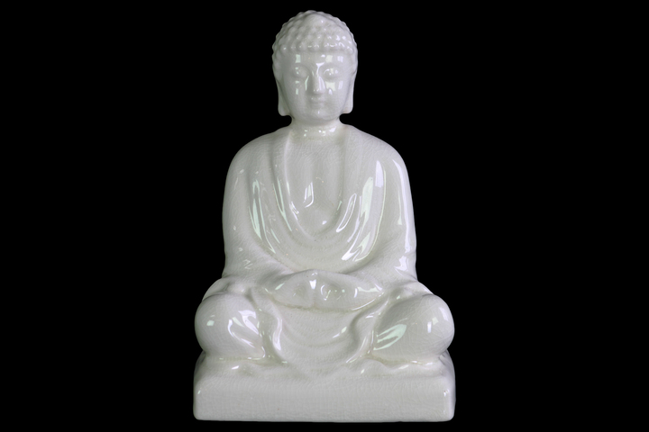 UTC12935 Ceramic Meditating Buddha Figurine without Ushnisha in Mida-No Jouin Mudra on Base Gloss Finish White