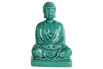 UTC12936 Ceramic Meditating Buddha Figurine without Ushnisha in Mida-No Jouin Mudra on Base Gloss Finish Teal