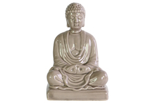 UTC12937 Ceramic Meditating Buddha Figurine without Ushnisha in Mida-No Jouin Mudra on Base Gloss Finish Beige