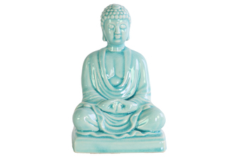 UTC12938 Ceramic Meditating Buddha Figurine without Ushnisha in Mida-No Jouin Mudra on Base Gloss Finish Cyan