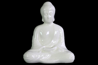 UTC12939 Ceramic Meditating Buddha Figurine with Rounded Ushnisha in Dhyana Mudra Gloss Finish White