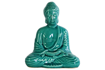 UTC12940 Ceramic Meditating Buddha Figurine with Rounded Ushnisha in Dhyana Mudra Gloss Finish Teal