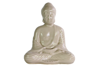 UTC12941 Ceramic Meditating Buddha Figurine with Rounded Ushnisha in Dhyana Mudra Gloss Finish Beige