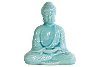 UTC12942 Ceramic Meditating Buddha Figurine with Rounded Ushnisha in Dhyana Mudra Gloss Finish Cyan