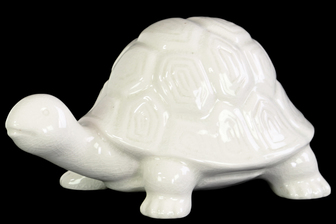 UTC12953 Ceramic Galapagos Tortoise Figurine Gloss Finish White