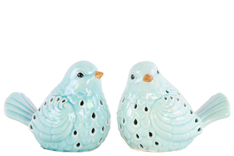 UTC12957-AST Ceramic Bird Figurine with Cutout Design Assortment of Two Gloss Finish Cyan