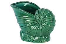 UTC12968 Ceramic Nautilus Seashell Sculpture Gloss Finish Turquoise