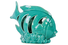 UTC12978 Ceramic Fish Figurine with Crescent Shaped Cutout Sides on Seaweed Base Gloss Finish Turquoise