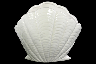 UTC12988 Ceramic Standing Open Clam Seashell Figurine Gloss Finish White