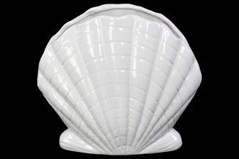 UTC12989 Ceramic Clam Seashell Sculpture Gloss Finish White