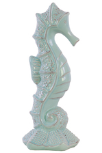 UTC12991 Ceramic Seahorse Figurine on Sea Star Base Gloss Finish Turquoise