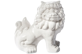 UTC13018 Ceramic Sitting Foo Dog Figurine Gloss Finish White