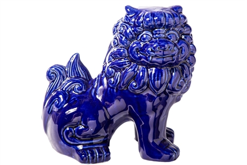 UTC13019 Ceramic Sitting Foo Dog Figurine Gloss Finish Navy Blue