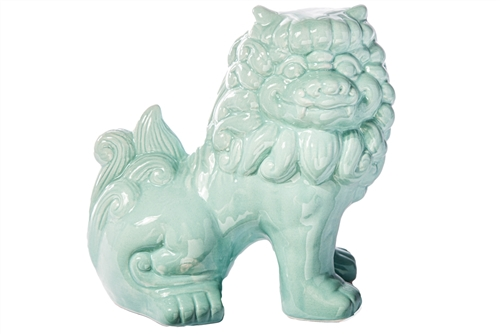 UTC13021 Ceramic Sitting Foo Dog Figurine Gloss Finish Cyan
