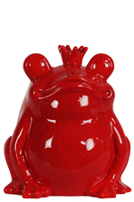 UTC13407 Ceramic Sitting Frog Figurine with Crown Gloss Finish Red
