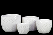 UTC13506 Ceramic Round Pot with Tapered Bottom and Impressed Swirl Design Set of Four Gloss Finish White