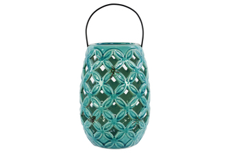 UTC13617 Ceramic Round Lantern with Diagonal Cutout Design, Tapered Bottom and Metal Handles Gloss Finish Turquoise