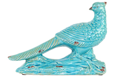 UTC13638 Ceramic Wood Pecker Bird Figurine on Branch Base Distressed Gloss Finish Turquoise