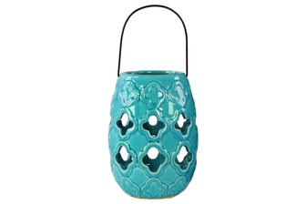 UTC13641 Ceramic Round Lantern with Cutout Quatrefoil Design and Metal Handle Gloss Finish Turquoise