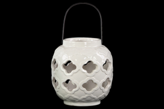 UTC13642 Ceramic Spherical Lantern with Cutout Quatrefoil Design and Metal Handle Gloss Finish White