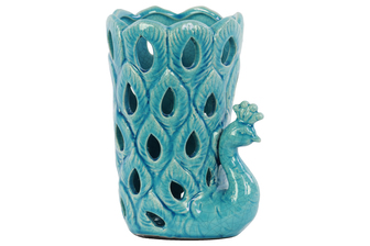 UTC13801 Ceramic Peacock Figurine/Vase with Cutout Sides Gloss Finish Turquoise
