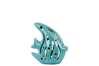 UTC13806 Ceramic Fish Figurine with Cutout Sides SM Gloss Finish Turquoise