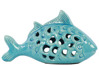 UTC13809 Ceramic Fish Figurine with Cutout Sides Gloss Finish Turquoise