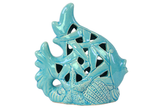 UTC13828 Ceramic Fish Figurine with Perforated Design on Seaweed Base Gloss Finish Sky Blue