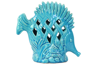 UTC13829 Ceramic Fish Figurine with Erect Dorsal Fins and Perforated Design on Seaweed Base Gloss Finish Sky Blue