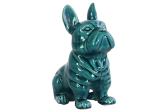 UTC13833 Ceramic French Bulldog Figurine with Pricked Ears Gloss Finish Turquoise