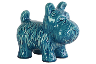 UTC13834 Ceramic Standing Welsh Terrier Dog Figurine Gloss Finish Turquoise