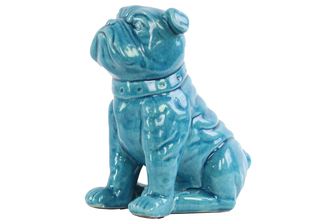 UTC13835 Ceramic Sitting British Bulldog Figurine with Collar Gloss Finish Turquoise