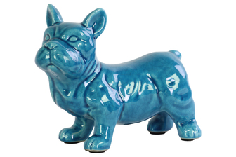 UTC13836 Ceramic Standing French Bulldog Figurine with Pricked Ears Gloss Finish Turquoise