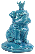 UTC13838 Ceramic British Bulldog Figurine with 5 Spiked Crown Sitting on a Cushion Gloss Finish Turquoise