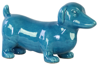 UTC13840 Ceramic Standing Dachshund Dog Figurine Gloss Finish Turquoise