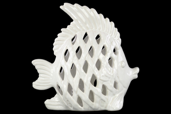 UTC13878 Ceramic Angel Fish Figurine with Diagonal Cutout Design Gloss Finish White