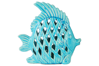 UTC13879 Ceramic Angel Fish Figurine with Diagonal Cutout Design Gloss Finish Turquoise