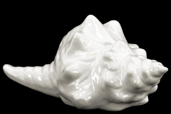 UTC13882 Ceramic Conch Seashell Figurine Gloss Finish White