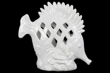 UTC13885 Ceramic Fish Figurine with Erect Dorsal Fins and Perforated Design on Seaweed Base Gloss Finish White