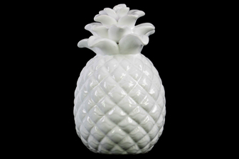 UTC13897 Ceramic Pineapple Figurine with Embossed Lattice Design Gloss Finish White