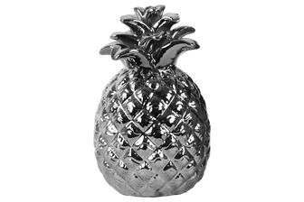 UTC13899 Ceramic Pineapple Figurine with Embossed Lattice Design Polished Chrome Finish Silver