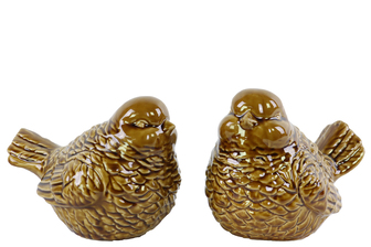 UTC14111-AST Ceramic Bird Figurine Assortment of Two Gloss Finish Brown