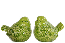 UTC14118-AST Ceramic Bird Figurine Assortment of Two Gloss Finish Apple Green